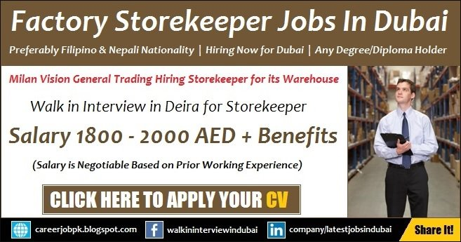 Store Keeper Jobs in Dubai