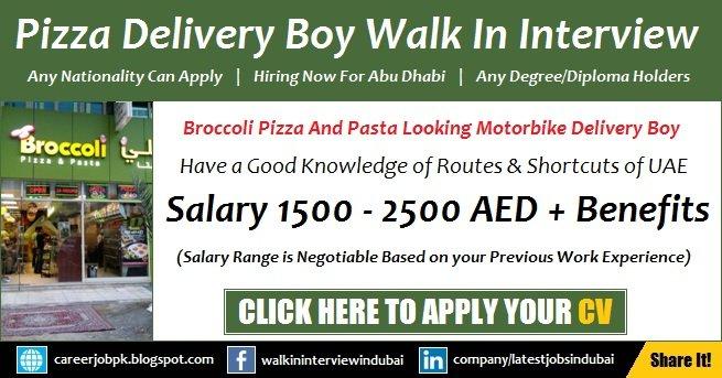 Broccoli Pizza Delivery Boy Jobs