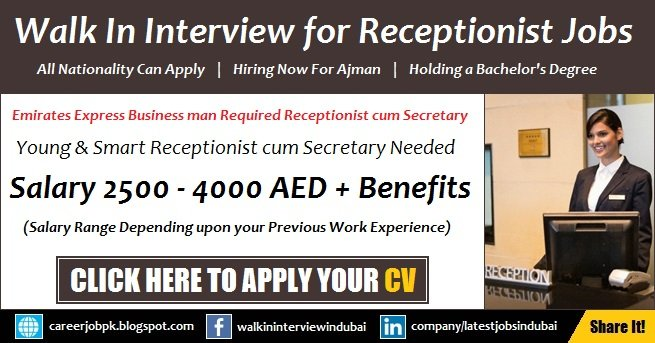 Receptionist cum Secretary Jobs in Ajman