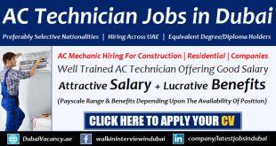 AC Technician Jobs in Dubai