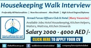 Armed Forces Officers Club Vacancies