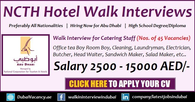 Abu Dhabi Hotel NCTH Jobs for Catering Staff Latest Walk in