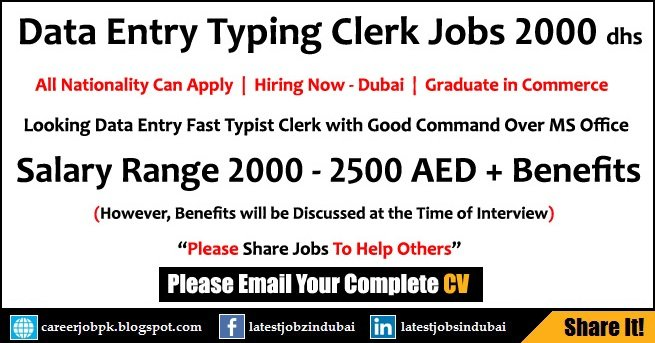Data Entry Typing Jobs In Dubai Salary 2000 Aed