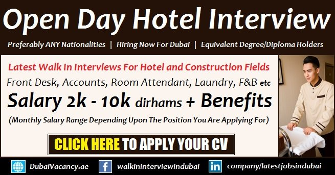 Dubai Hotel Jobs For All Nationality