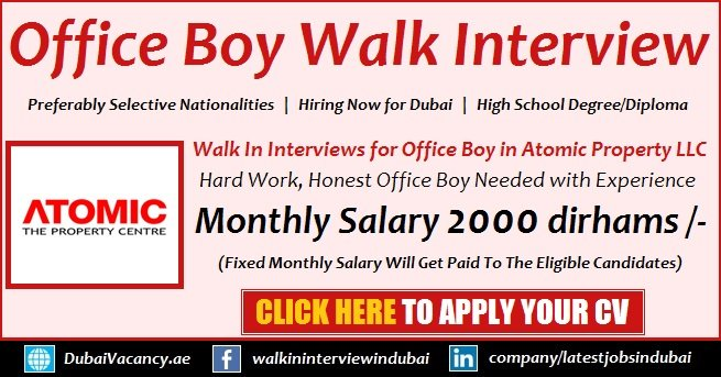 Dubai Office Boy Job Vacancy