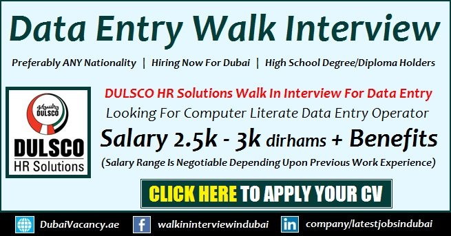Dulsco Dubai Data Entry Jobs