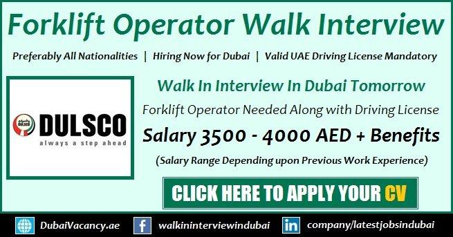 Dulsco Forklift Operators Dubai Jobs