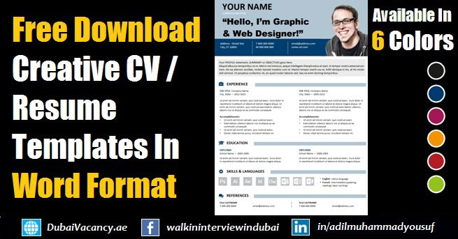 Free Download Editable Resume Cv Template In Ms Word Format
