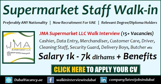 JMA Supermarket Jobs in Dubai