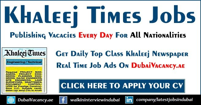 Khaleej Times Jobs in Dubai & Across UAE Today Updates (Sept