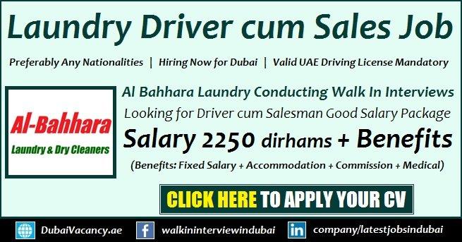 Laundry Driver cum Salesman Jobs