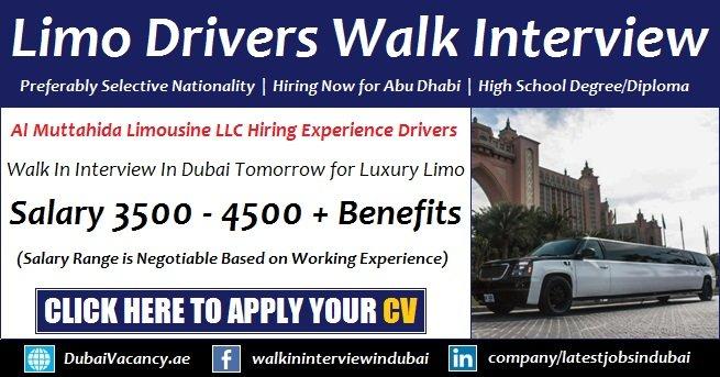 Dubai Limousine Driver Job Walk In Interview Advertisement