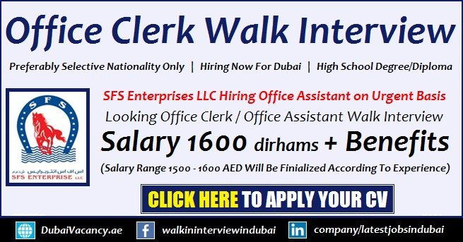 Office Clerk Jobs in Dubai