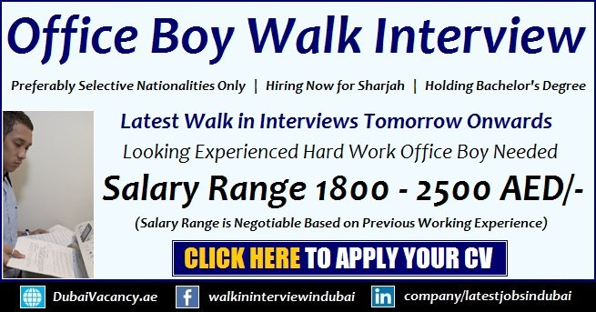Office Boy Jobs in Sharjah