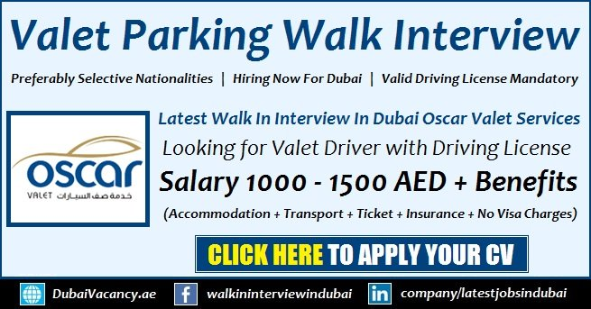 Oscar Valet Parking Dubai Jobs
