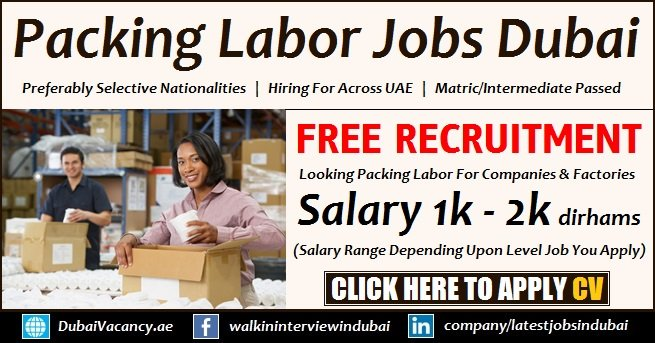 Packing Helper Jobs in Dubai For Pakistani/Indian & All Nationalities