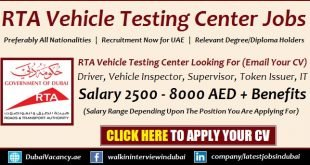 RTA Vehicle Testing Center Jobs