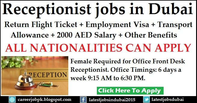 Receptionist jobs in Dubai with Employment Visa