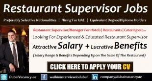 Restaurant Supervisor Jobs in Dubai