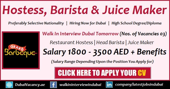 Grand Barbeque Restaurant Dubai Jobs