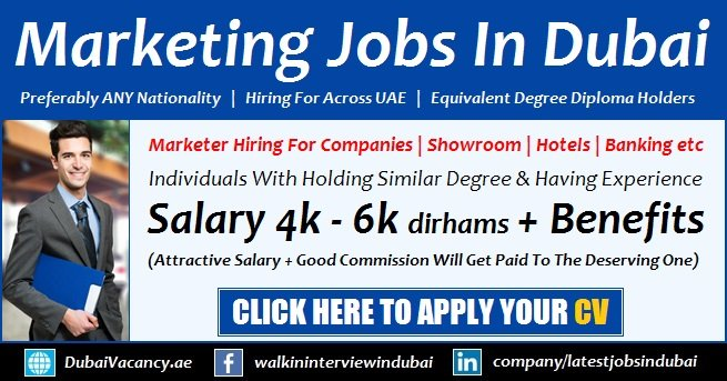 Sales & Marketing Jobs in Dubai