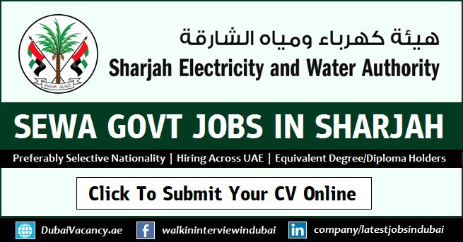 Sewa Careers In Sharjah 2020 Sharjah Electricity Water Authority