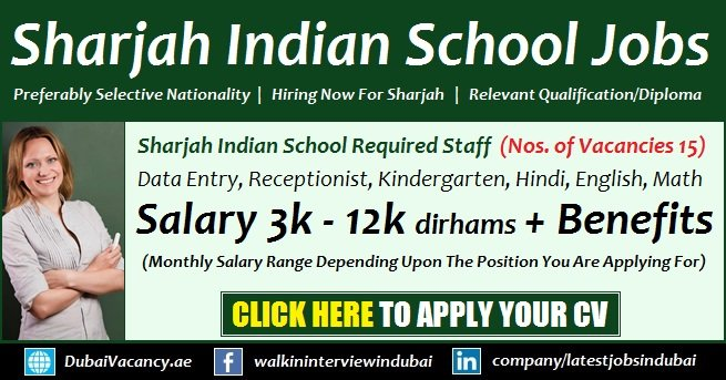 Sharjah Indian School Vacancies 2020