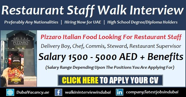 Pizzaro UAE Restaurant Jobs