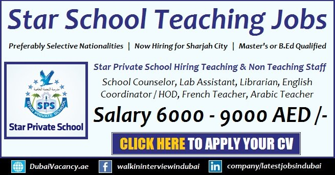 Star Private School Sharjah Jobs For