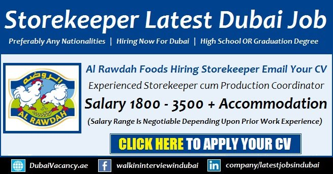 Store Keeper Jobs Dubai