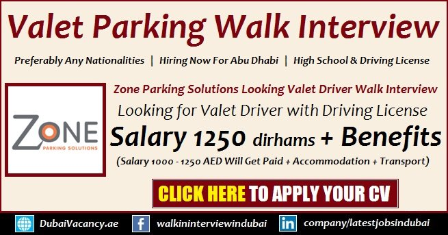 Zone Valet Parking Abu Dhabi Jobs